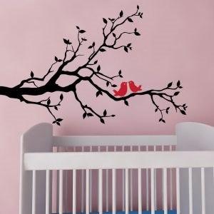 Dekor ág madarakkal falmatrica gyerekszoba dekoráció faltetoválás