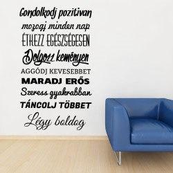 Motivációs idézet falmatrica faltetoválás magyar feliratos felirattal szöveges