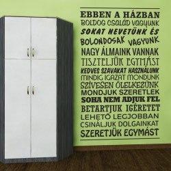 Boldog család falmatrica ajándék ötlet magyar felirattal motivációs
