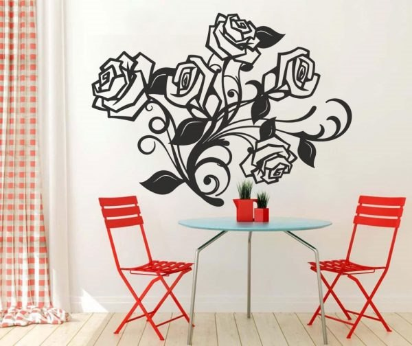 Rózsa rózsás rózsák virág falmatrica faltetoválás gyerekszoba dekoráció