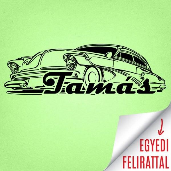 Egyedi feliratú névvel Chevy Deluxe falmatrica gyerekszoba magyar felirat