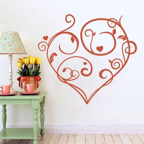 Romantikus szív falmatrica faltetoválás házilag gyerekszoba dekoráció