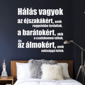 Hálás feliratos falmatrica szöveges faltetoválás szöveggel fali idézet betűk