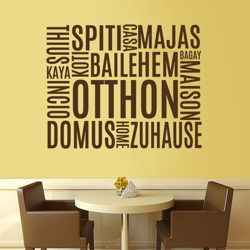 Otthon szó több nyelven feliratos falmatrica dekoráció M833