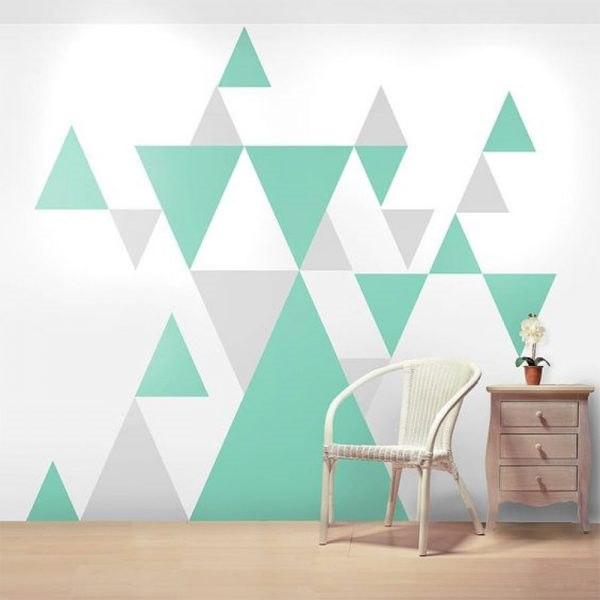 Színes háromszögek falmatrica olcsón fali matrica alakzatok minták falra