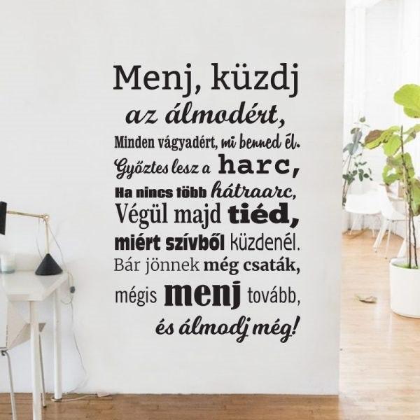 Menj küzdj motiváló idézet falimatrica magyar szöveges faltetoválás fali