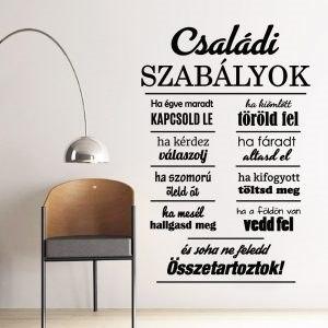 Családi szabályok falmatrica idézet falimatrica magyar szöveges matrica