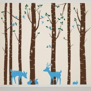 Nagy fák gyerekszobába falmatrica falimatrica őz szarvas faldekor matrica aranyos