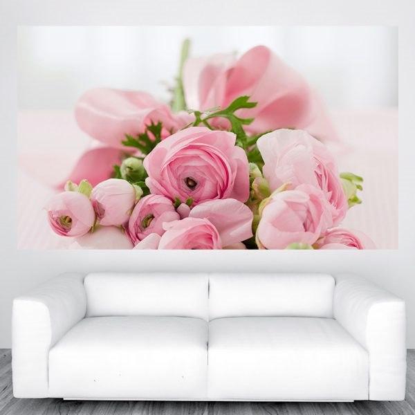 Vintage rózsaszín virágok óriás poszter olcsó fali kép nyomtatás plakát