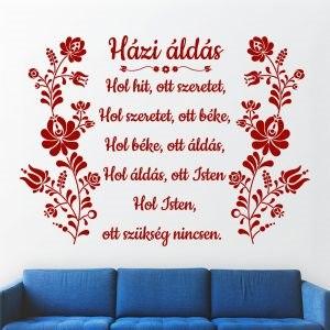 Házi áldás Magyar népi motívum kalocsai minta faltetoválás falmatrica