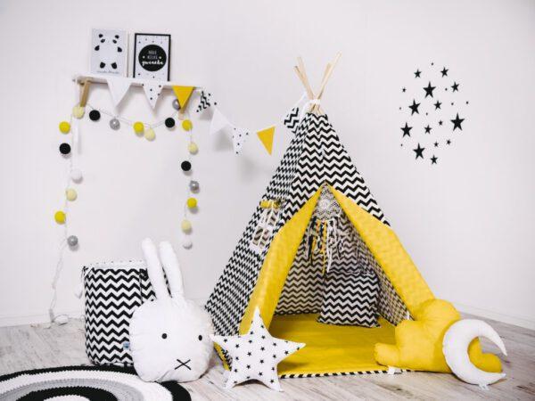 Sárga-Fekete játszósátor, gyereksátor, teepee, indián sátor