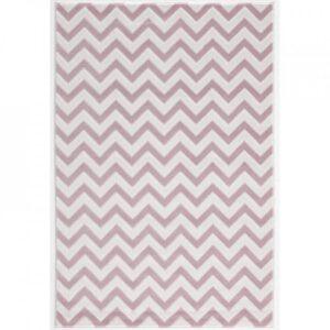 Cikk Cakk rózsaszín-fehér szőnyeg T549