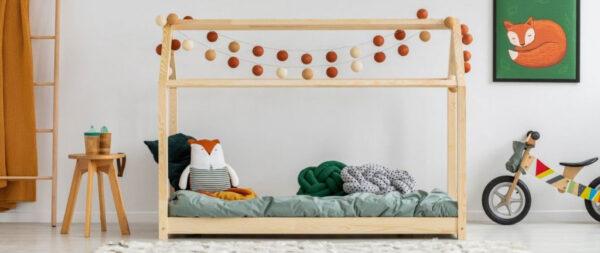 Ház alakú házikó ágy gyerekszoba babaszoba dekoráció leesésgátlós