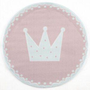 Korona mintás kör alakú szőnyeg gyerekszoba játszószőnyeg hercegnős