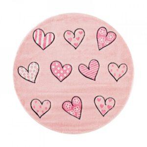Szív mintás kör alakú szőnyeg gyerekszoba játszószőnyeg babaszobába