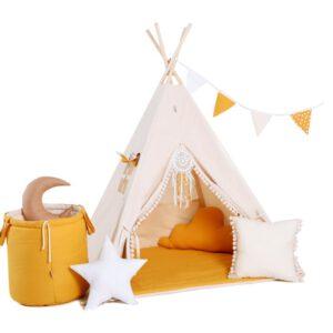 Narancs játszósátor, gyereksátor, teepee, indián sátor, gyerekszobába T519