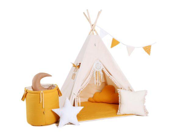 Narancs játszósátor, gyereksátor, teepee, indián sátor, gyerekszobába