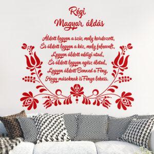 Régi Magyar házi áldás népi motívum kalocsai minta faltetoválás falmatrica