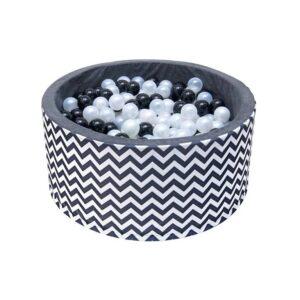Fekete-fehér cikk-cakk labdamedence labdás medence járóka 200 db labdával T579