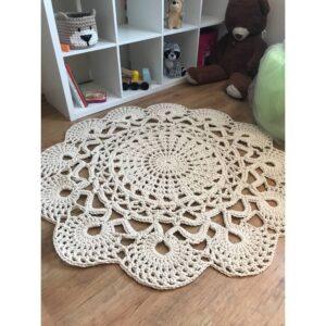 Kézműves Vintage horgolt szőnyeg 130 cm 100% pamut T595