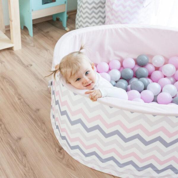 Rózsaszín labdamedence labdás medence járóka gyerekszoba babaszoba