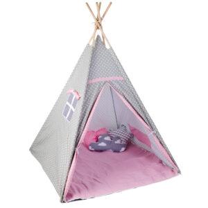 Gyerek sátor játszósátor – szürke fehér kis csillagos T524