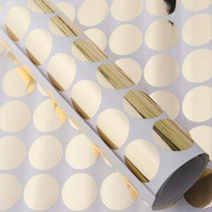 Tükörfényes Arany színű pöttyök falmatrica 9 cm átmérő – 50 db M522