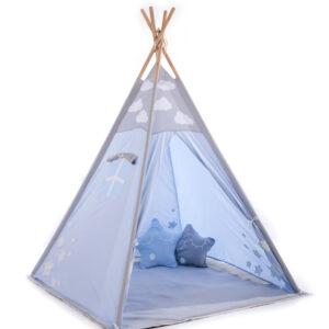 Gyerek sátor játszósátor kis sátor gyerekszobába indián babaszoba kék