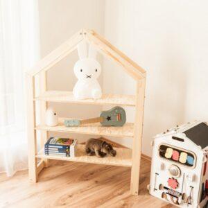 Ház alakú házikó polc babaszoba gyerekszoba bútor natúr gyerekbútor